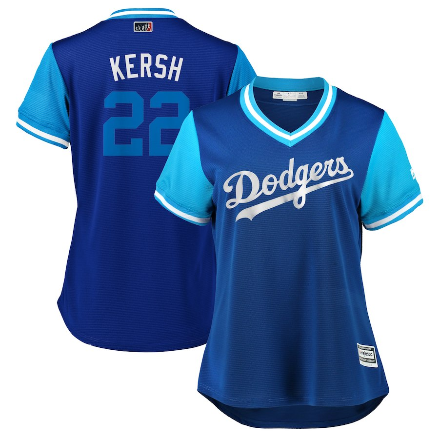 "Women's Los Angeles Dodgers Clayton Kershaw ""Kersh"" Royal/Light Blue 2018 Players' Weekend Cool Base Jersey"