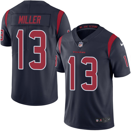 Houston Texans Nike Mens NFL Jersey #13 Braxton Miller Limited Navy Blue Rush