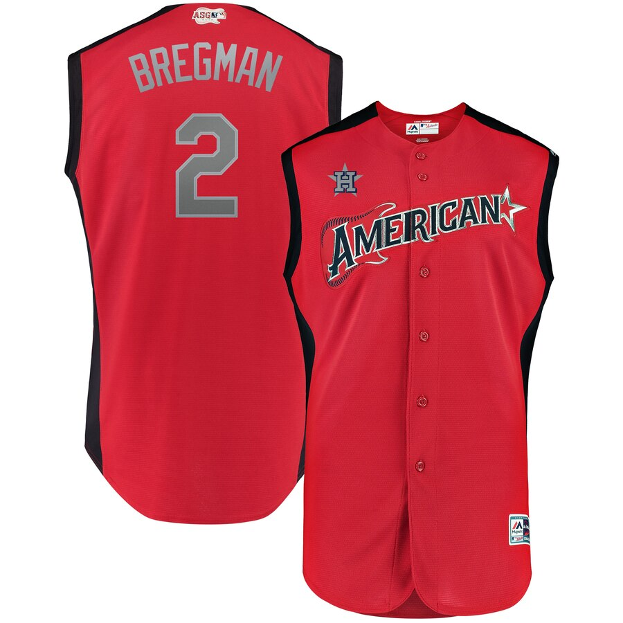 American League #2 Alex Bregman Majestic 2019 MLB All-Star Game Workout Player Jersey Red