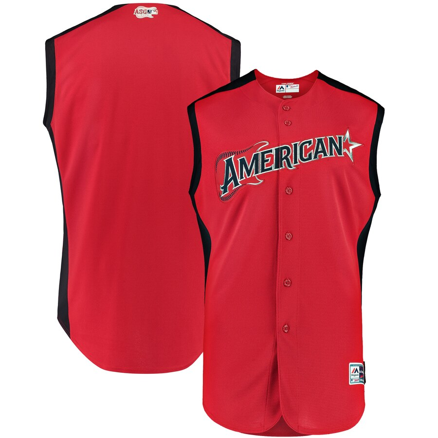 American League Blank Majestic 2019 MLB All-Star Game Workout Team Jersey Red Navy