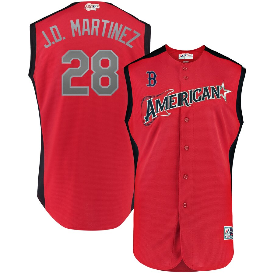 American League #28 J.D. Martinez Majestic 2019 MLB All-Star Game Workout Player Jersey Red