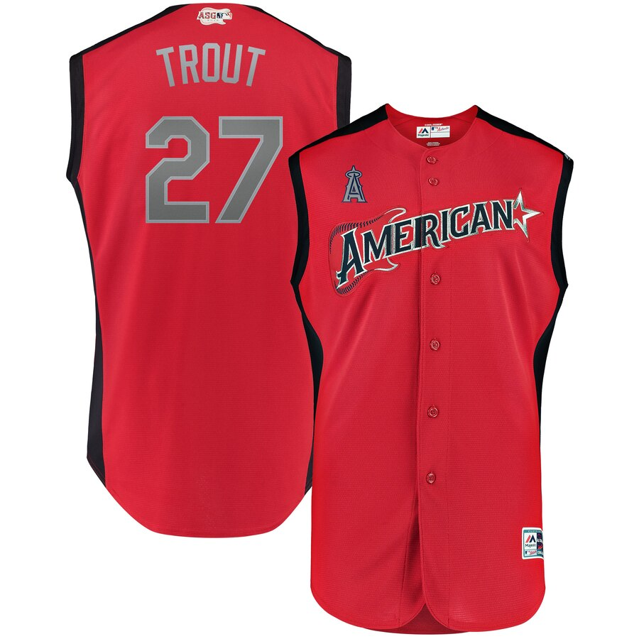 American League #27 Mike Trout Majestic 2019 MLB All-Star Game Workout Player Jersey Red