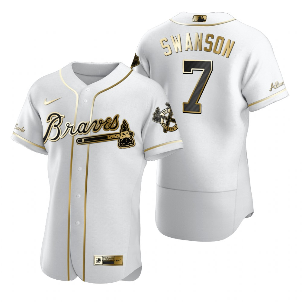 Atlanta Braves #7 Dansby Swanson White Nike Men's Authentic Golden Edition MLB Jersey