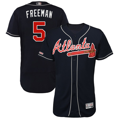 Braves #5 Freddie Freeman Navy Blue Flexbase Authentic Collection Stitched MLB Jersey