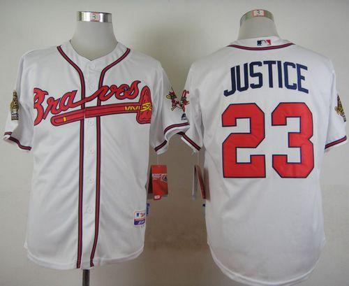 Braves #23 David Justice White Cool Base Stitched MLB Jersey