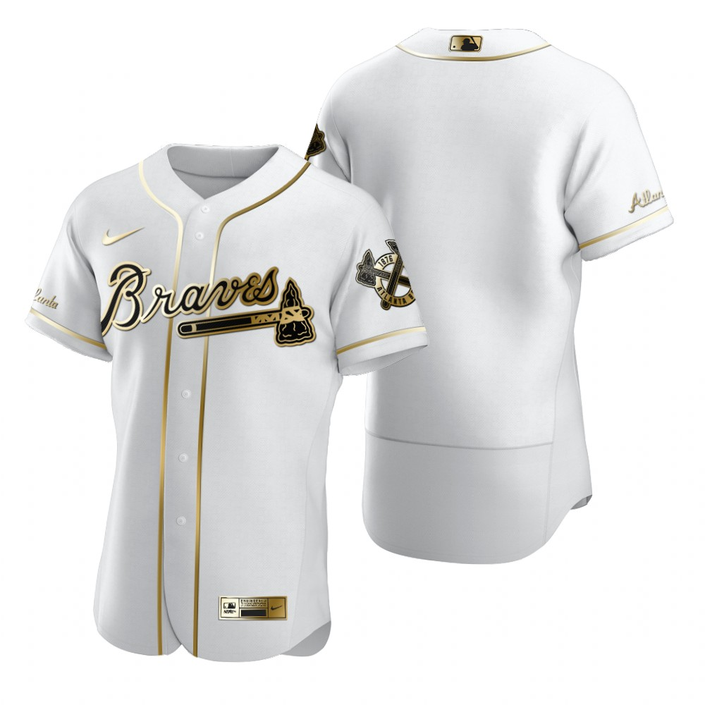 Atlanta Braves Blank White Nike Men's Authentic Golden Edition MLB Jersey