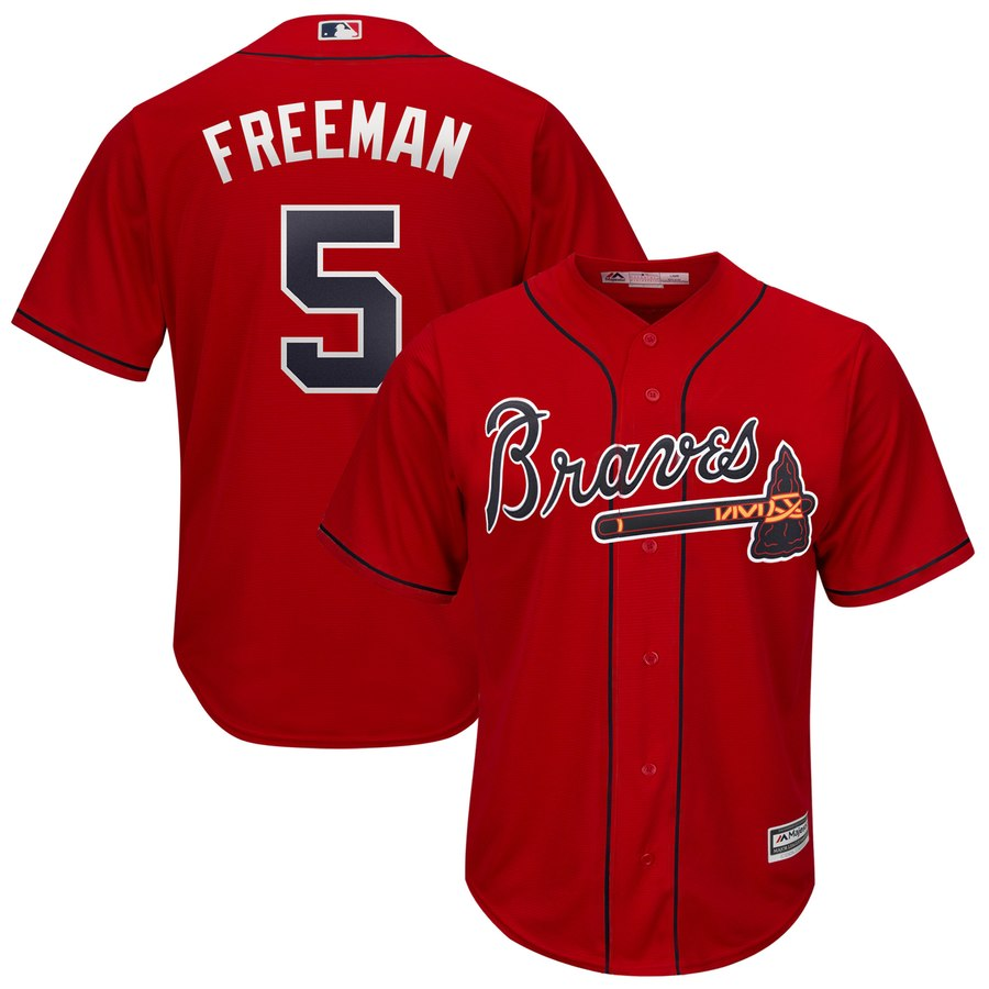 Atlanta Braves #5 Freddie Freeman Majestic 2019 Alternate Official Cool Base Player Jersey Scarlet
