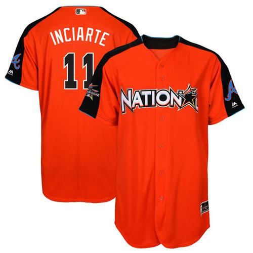 Braves #11 Ender Inciarte Orange 2017 All-Star National League Stitched MLB Jersey