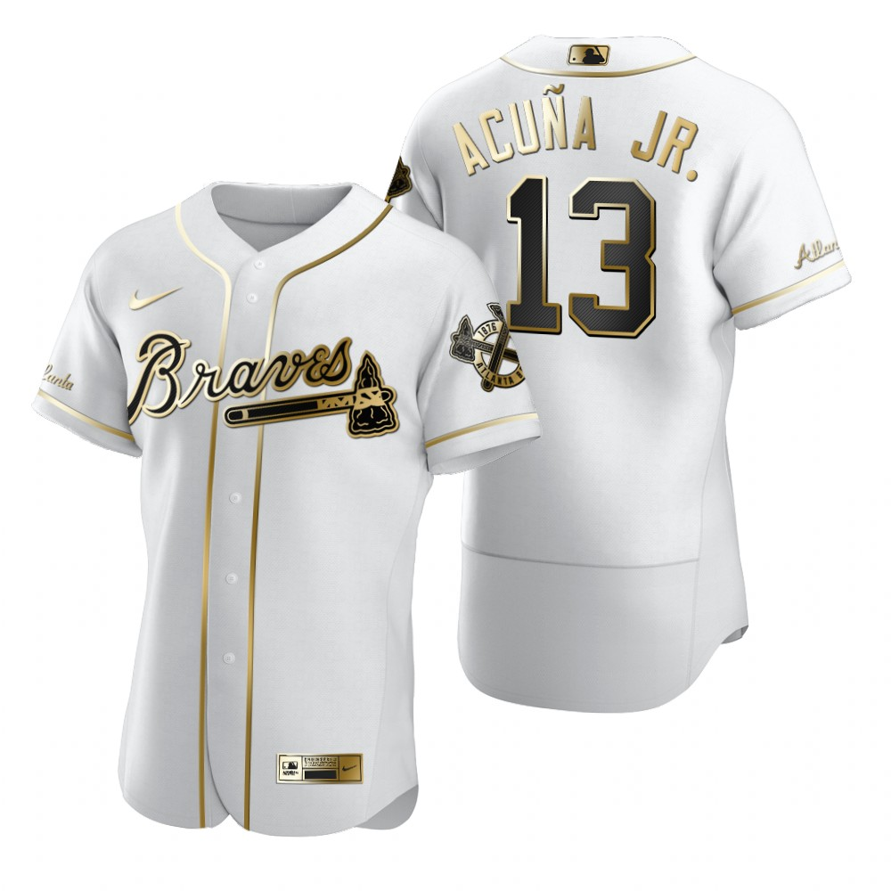 Atlanta Braves #13 Ronald Acuna Jr. White Nike Men's Authentic Golden Edition MLB Jersey