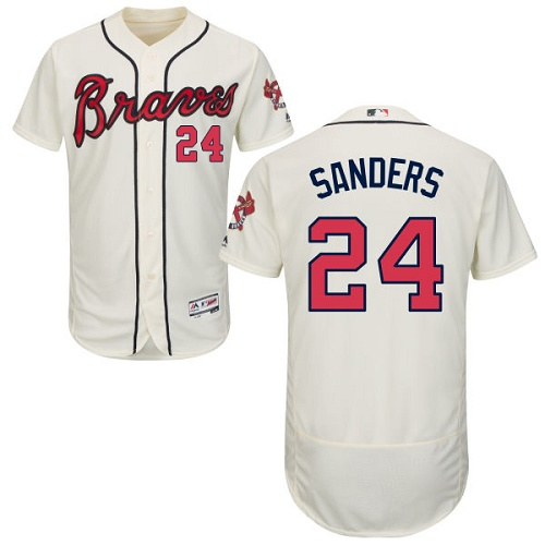 Braves #24 Deion Sanders Cream Flexbase Authentic Collection Stitched MLB Jersey