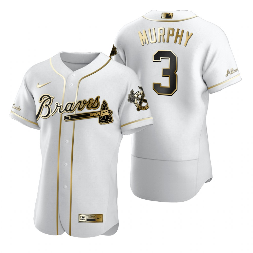 Atlanta Braves #3 Dale Murphy White Nike Men's Authentic Golden Edition MLB Jersey