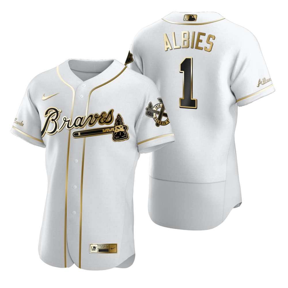 Atlanta Braves #1 Ozzie Albies White Nike Men's Authentic Golden Edition MLB Jersey