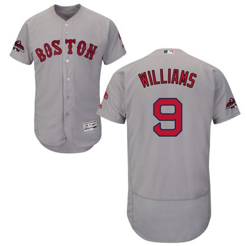 Red Sox #9 Ted Williams Grey Flexbase Authentic Collection 2018 World Series Champions Stitched MLB Jersey