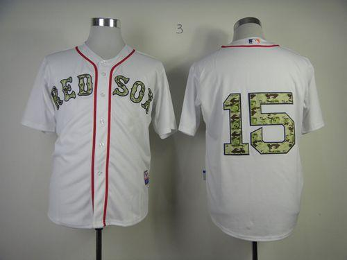 Red Sox #15 Dustin Pedroia White USMC Cool Base Stitched MLB Jersey