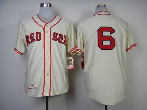 Mitchell And Ness 1946 Red Sox #6 Johnny Pesky Cream Throwback Stitched MLB Jersey