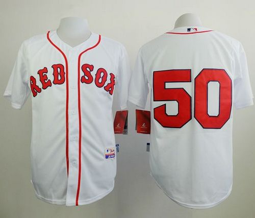 Red Sox #50 Mookie Betts White Cool Base Stitched MLB Jersey