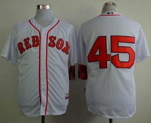 Red Sox #45 Pedro Martinez White Cool Base Stitched MLB Jersey