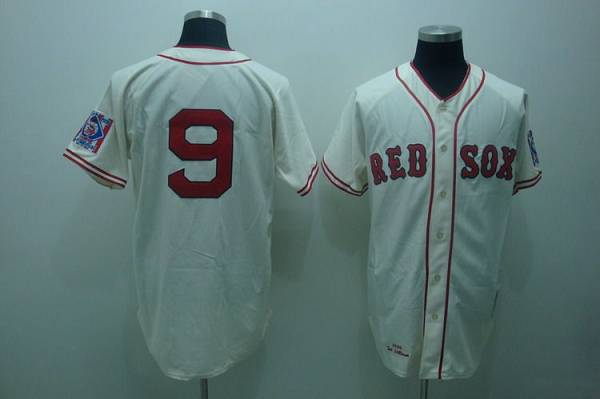 Mitchell and Ness 1939 Red Sox #9 Ted Williams Stitched Cream Throwback MLB Jersey
