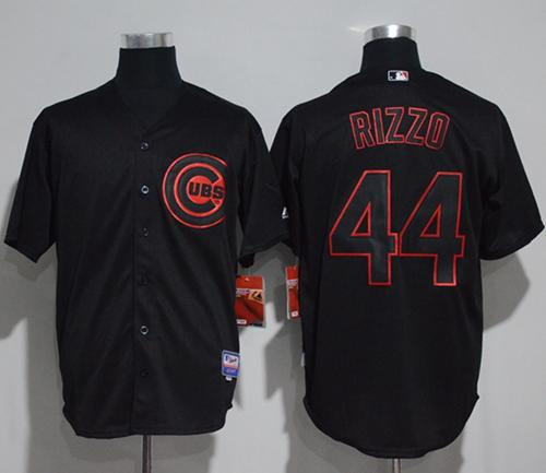 Cubs #44 Anthony Rizzo Black Strip Stitched MLB Jersey