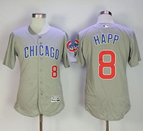 Cubs #8 Ian Happ Grey Flexbase Authentic Collection Road Stitched MLB Jersey