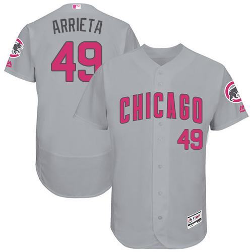 Cubs #49 Jake Arrieta Grey Flexbase Authentic Collection Mother's Day Stitched MLB Jersey