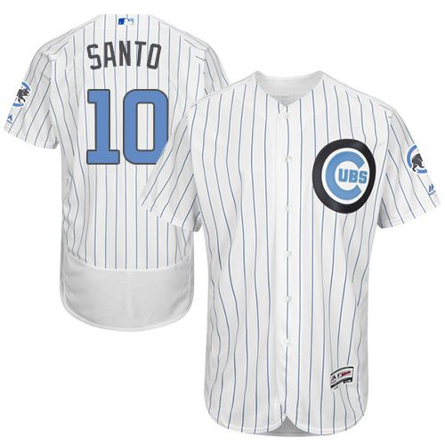 Cubs #10 Ron Santo White(Blue Strip) Flexbase Authentic Collection Father's Day Stitched MLB Jersey