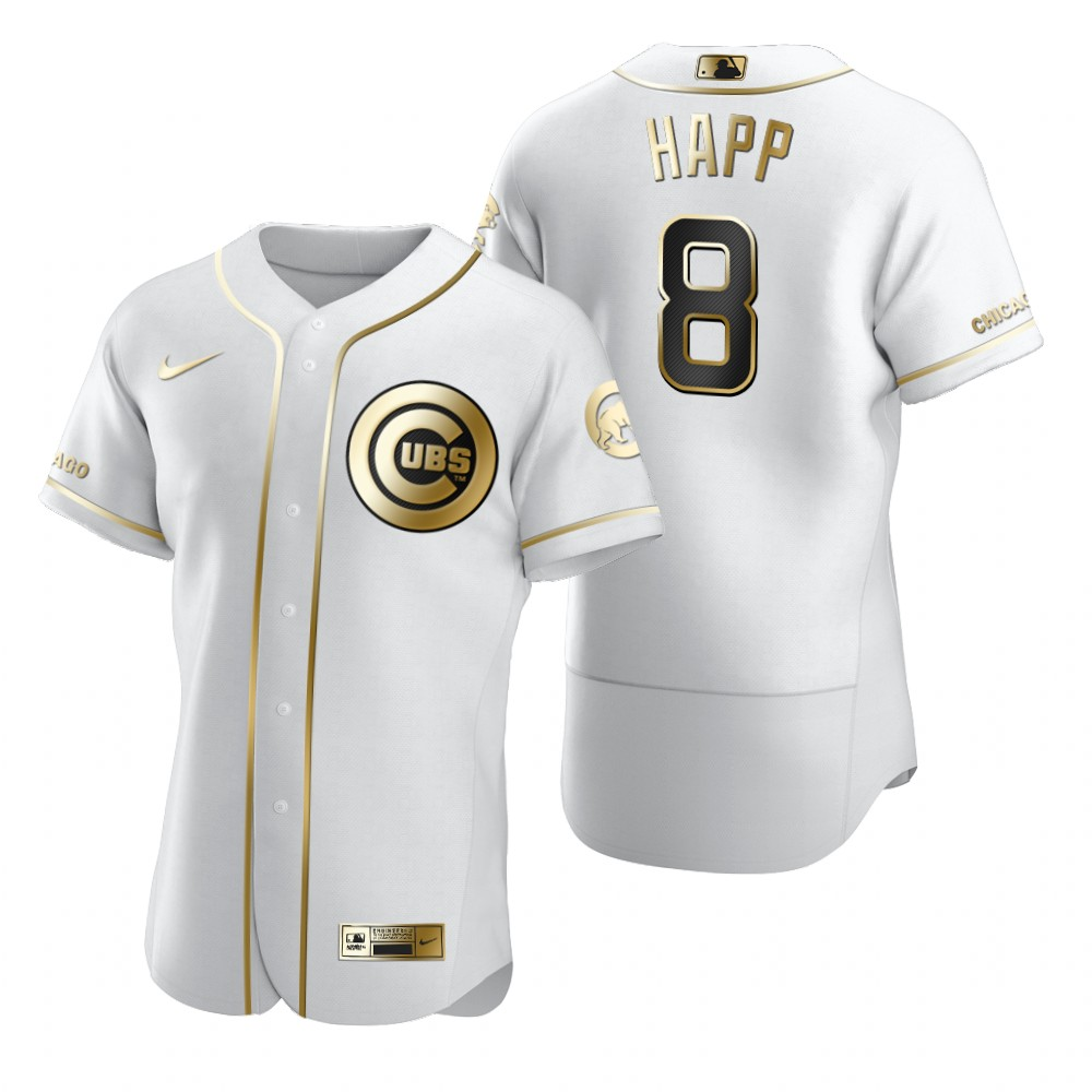 Chicago Cubs #8 Andre Dawson White Nike Men's Authentic Golden Edition MLB Jersey