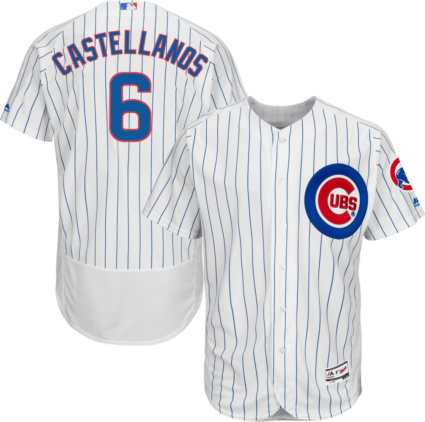 Cubs #6 Nicholas Castellanos White Flexbase Authentic Collection Stitched MLB Jersey
