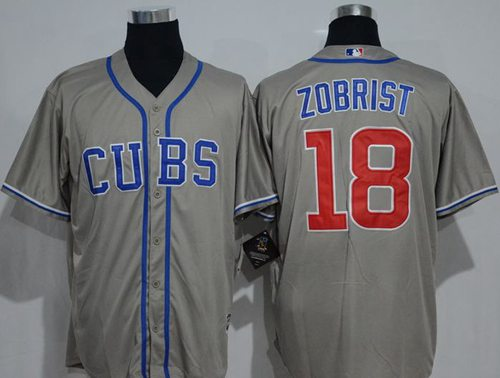 Cubs #18 Ben Zobrist Grey New Cool Base Alternate Road Stitched MLB Jersey