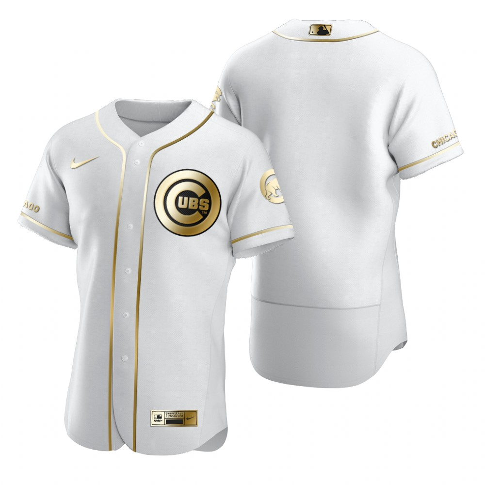 Chicago Cubs Blank White Nike Men's Authentic Golden Edition MLB Jersey