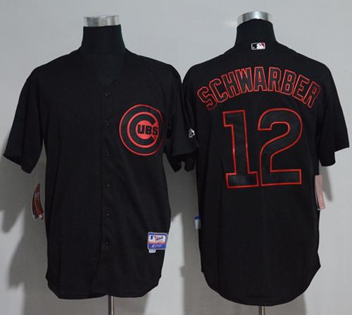 Cubs #12 Kyle Schwarber Black Strip Stitched MLB Jersey