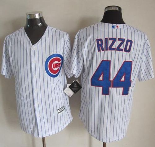Cubs #44 Anthony Rizzo White Strip New Cool Base Stitched MLB Jersey