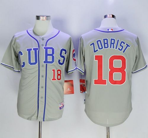 Cubs #18 Ben Zobrist Grey Alternate Road Cool Base Stitched MLB Jersey