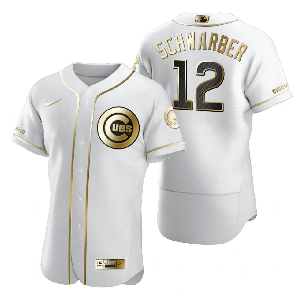 Chicago Cubs #12 Kyle Schwarber White Nike Men's Authentic Golden Edition MLB Jersey