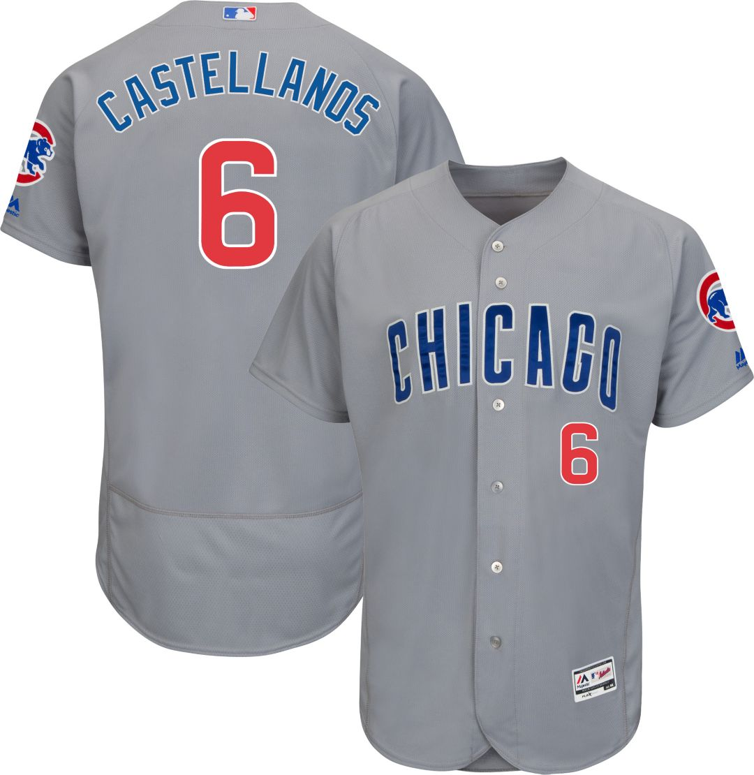 Cubs #6 Nicholas Castellanos Grey Flexbase Authentic Collection Road Stitched MLB Jersey