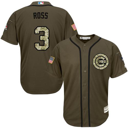 Cubs #3 David Ross Green Salute to Service Stitched MLB Jersey