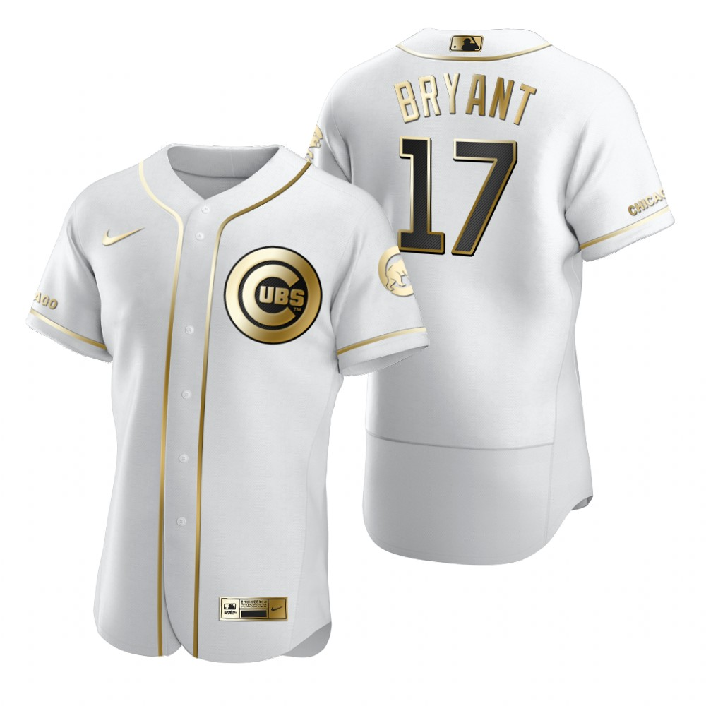 Chicago Cubs #17 Kris Bryant White Nike Men's Authentic Golden Edition MLB Jersey
