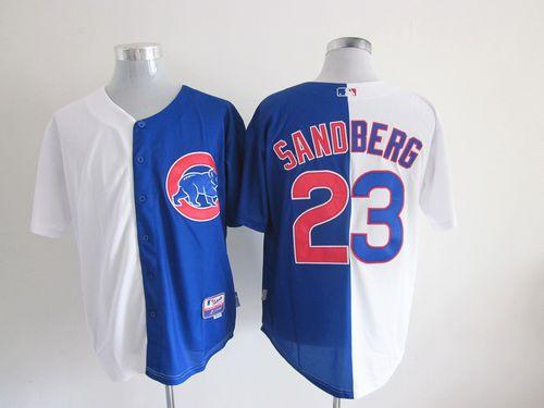 Cubs #23 Ryne Sandberg White/Blue Split Fashion Stitched MLB Jersey