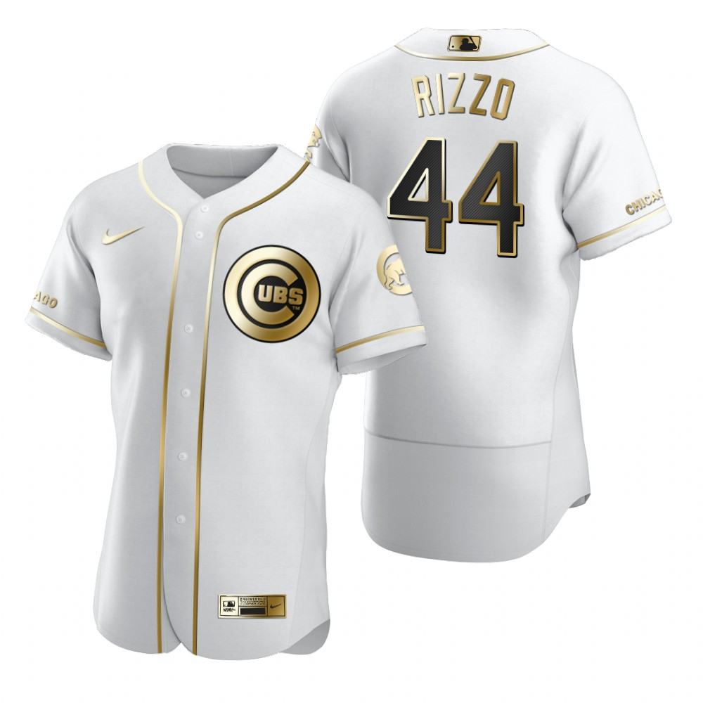 Chicago Cubs #44 Anthony Rizzo White Nike Men's Authentic Golden Edition MLB Jersey