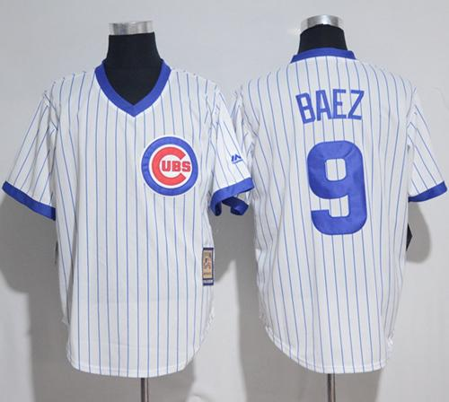 Cubs #9 Javier Baez White Strip Home Cooperstown Stitched MLB Jersey