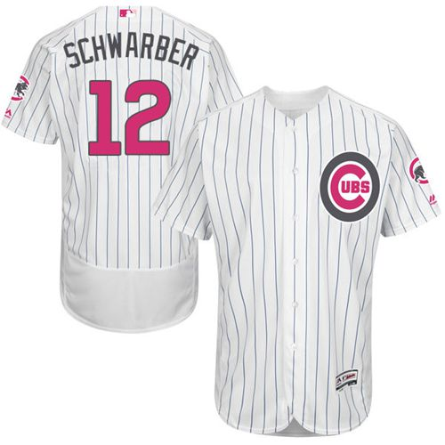 Cubs #12 Kyle Schwarber White(Blue Strip) Flexbase Authentic Collection Mother's Day Stitched MLB Jersey