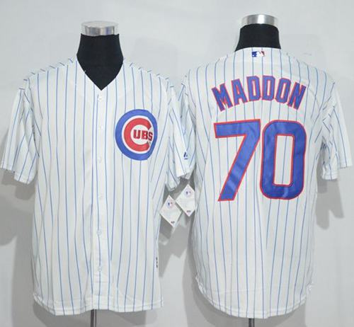 Cubs #70 Joe Maddon White(Blue Strip) New Cool Base Stitched MLB Jersey