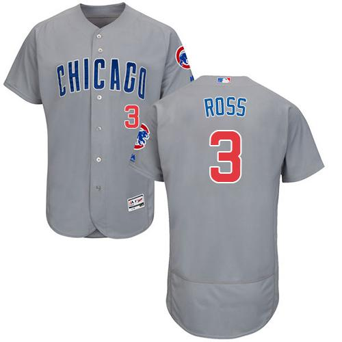 Cubs #3 David Ross Grey Flexbase Authentic Collection Road Stitched MLB Jersey