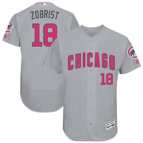 Cubs #18 Ben Zobrist Grey Flexbase Authentic Collection Mother's Day Stitched MLB Jersey