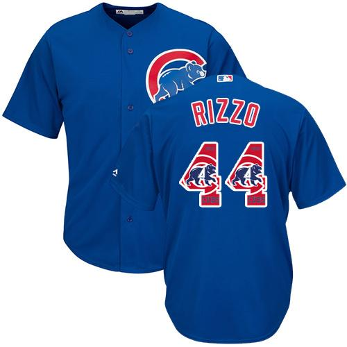 Cubs #44 Anthony Rizzo Blue Team Logo Fashion Stitched MLB Jersey