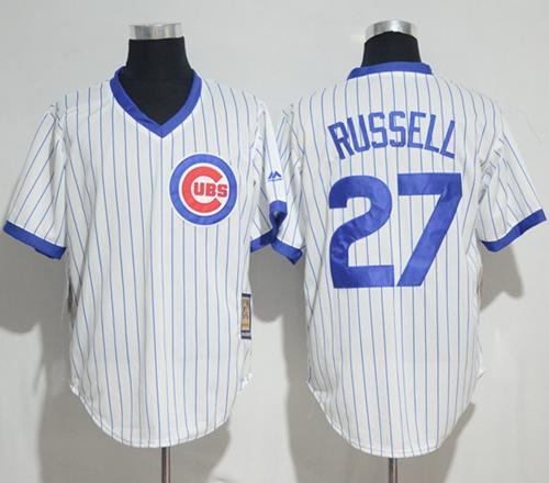 Cubs #27 Addison Russell White Strip Home Cooperstown Stitched MLB Jersey