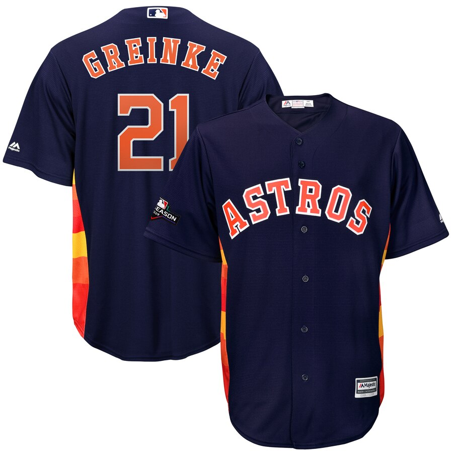 Houston Astros #21 Zack Greinke Majestic 2019 Postseason Official Cool Base Player Jersey Navy