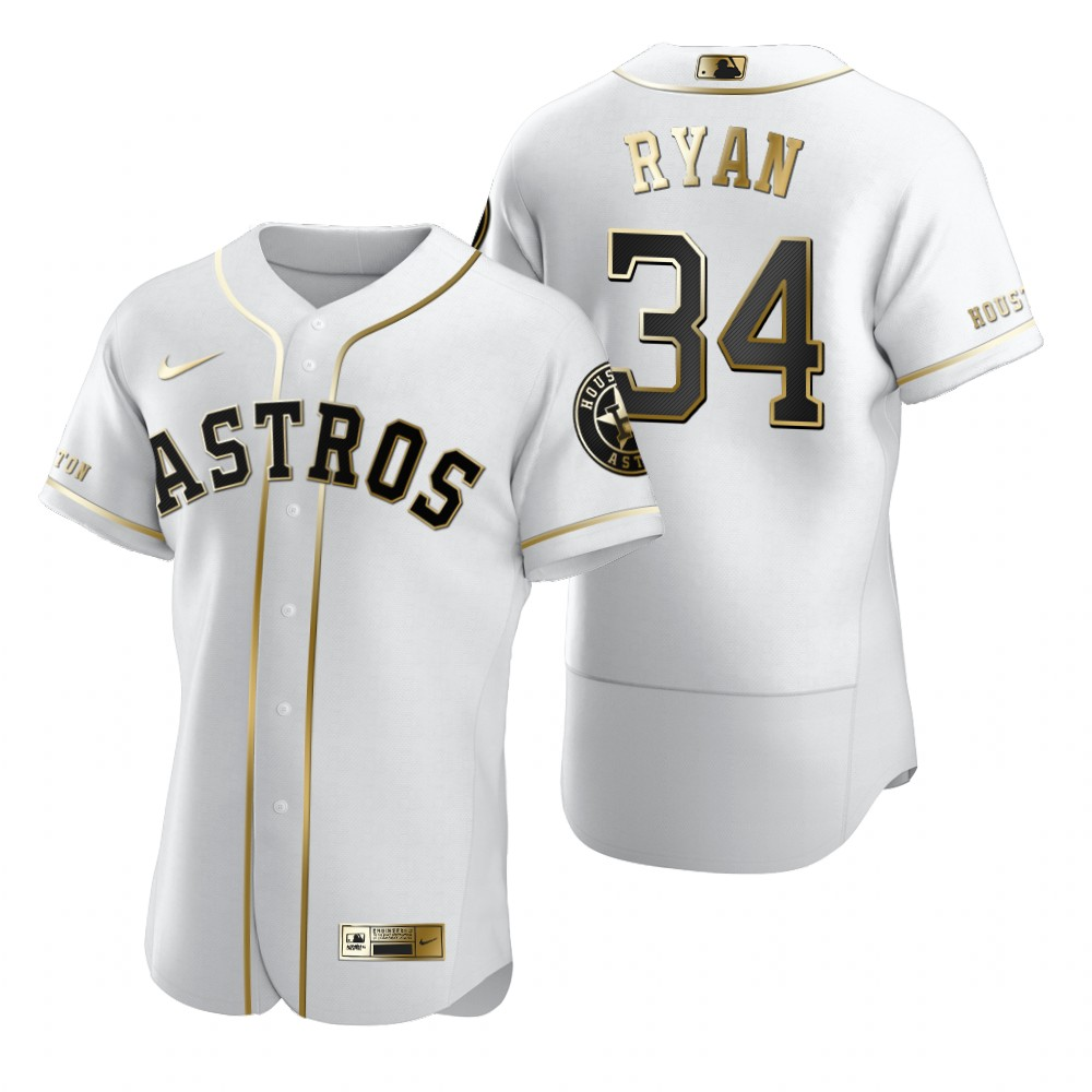 Houston Astros #34 Nolan Ryan White Nike Men's Authentic Golden