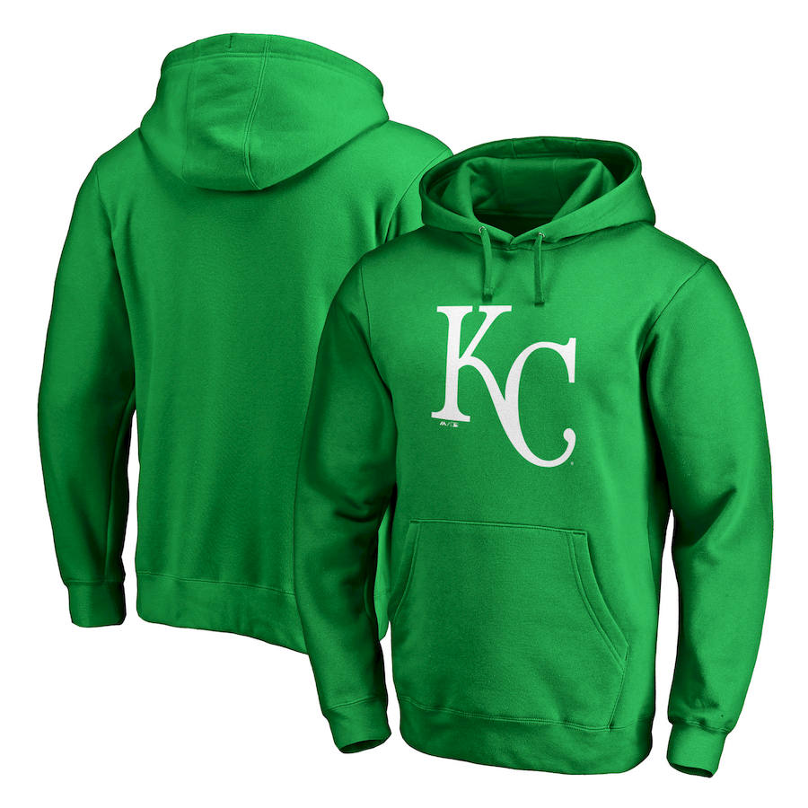 Kansas City Royals Majestic St. Patrick's Day White Logo Pullover Hoodie Kelly Green