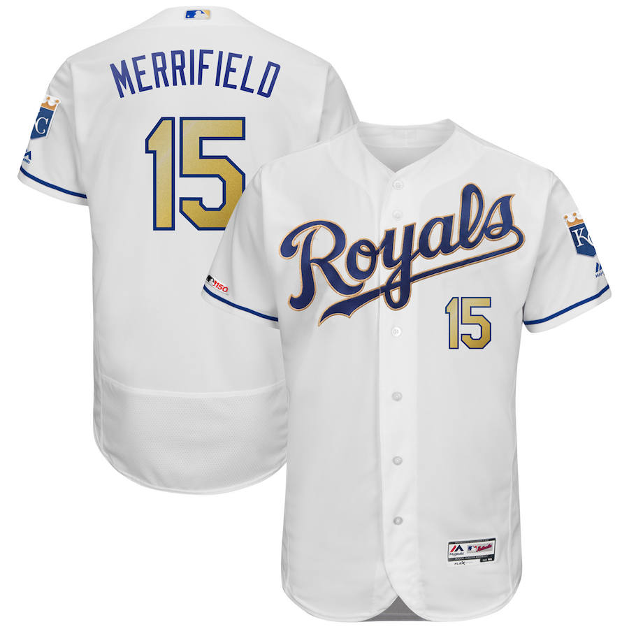 Kansas City Royals #15 Whit Merrifield Majestic Alternate Authentic Collection Flex Base Player Jersey White